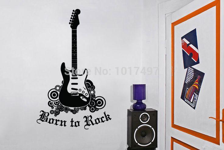 Бесплатная доставка гитарный рок звезда на стену виниловые наклейки декор спальня музыка дети детского творчества, A2050