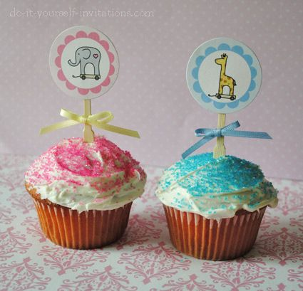 Adorable Giraffe And Elephant Cupcake Toppers  Part Of Our Giraffe And  Elephant Baby Shower Kit