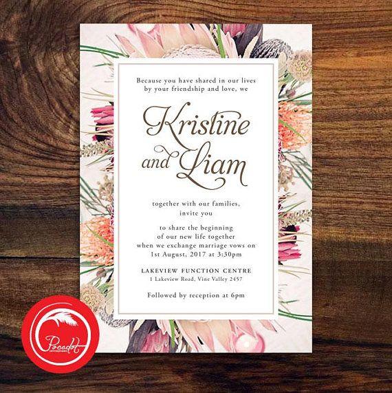 Native American Wedding Invitations: Australian Native Wedding Invitation Printable, Native