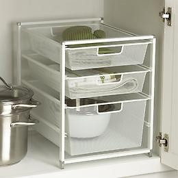 Neat idea for 'neatness' in bottom cabinets without shelves!!!  The Container Store offers this one.