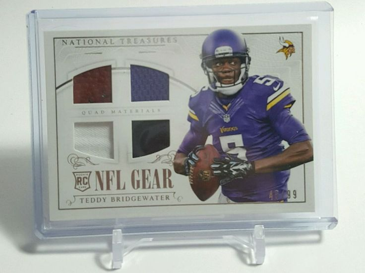 2014 NATIONAL TREASURES TEDDY BRIDGEWATER QUAD RELIC RC /99 VIKINGS  #MinnesotaVikings
