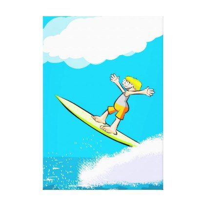 Happy young surf to obtain its spectacular feat canvas print - diy cyo customize create your own #personalize
