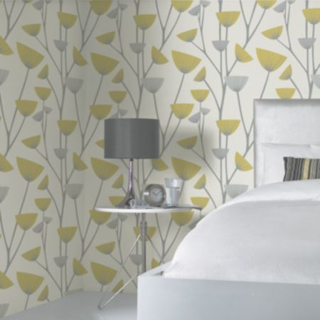 Dandelion Grey White Yellow Wallpaper Image 3 Lounge Make Over Ideas Pinterest And Mustard