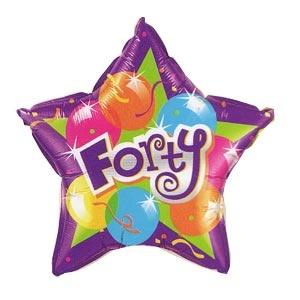 "Forty Sparkling 20"" Mylar Balloon"