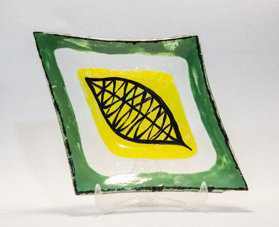 Unique fused and painted glass Leaf plate by AtelierThalia on Etsy