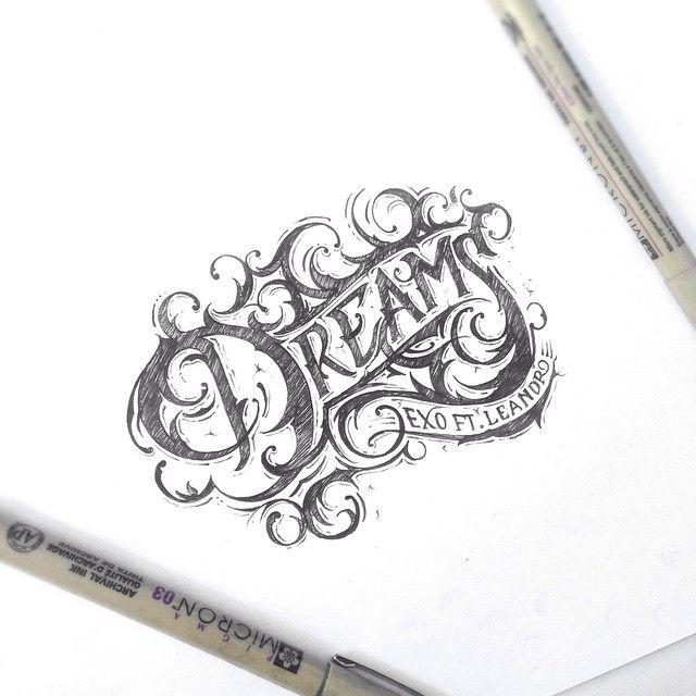 """Ink version of Dreams ☁️ #type #typespire #typography #typographyinspired…"
