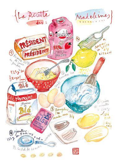 La recette des madeleines - Aquarelle - Recette illustrée - Cuisine - Illustration pâtisserie