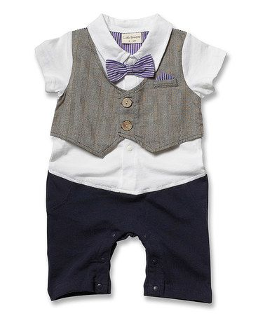Another great find on #zulily! Purple Plaid-Vest Romper - Infant by Little Youngster #zulilyfinds