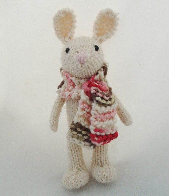 Super cute bunny love.  Great splash of colour contrast in the scarf.