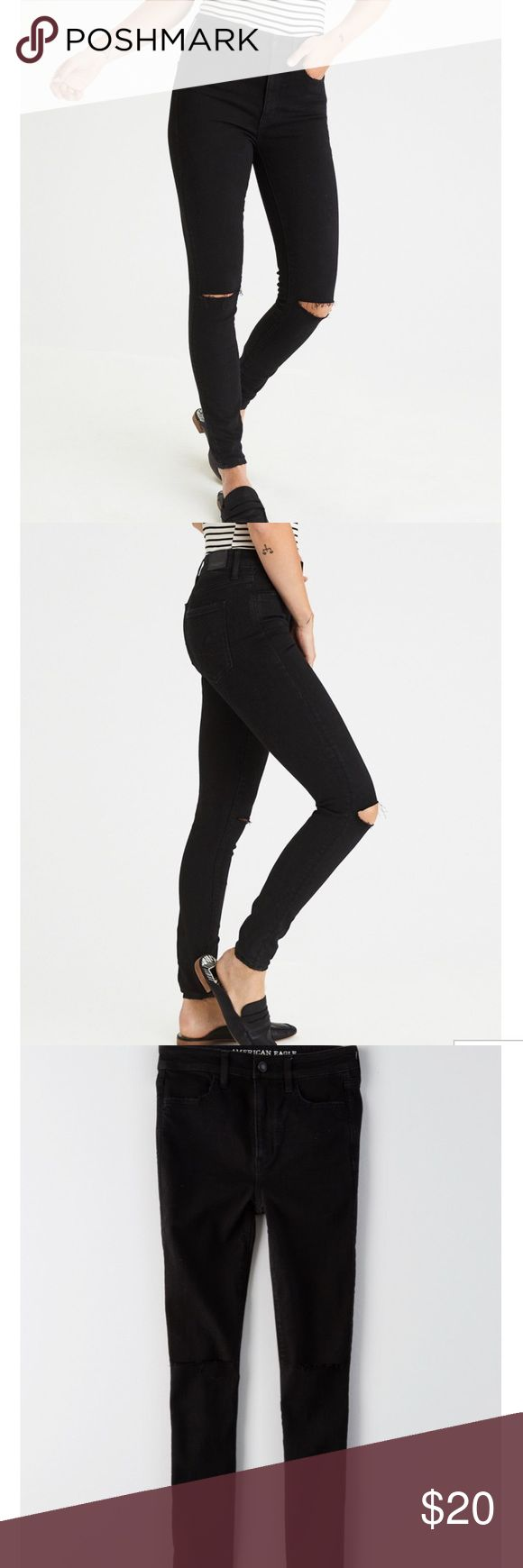 TODAY ONLY American Eagle High Waist Stretch Jean American Eagle High Waisted Super Super Stretch Skinny Jean. Distressed knee and black jean. Worn a handful of times, still in good condition. Retail price over $60 and this style is available online only! Size 14r American Eagle Outfitters Jeans Skinny