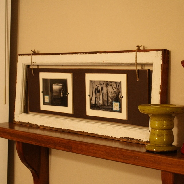 great idea for a window frame or make it with distressed wood - then add more wood - and pictures!