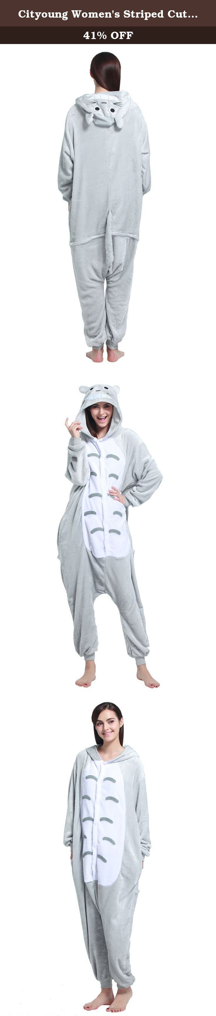 Cityoung Women's Striped Cute Warm Flannel Pajama Onesie,Cat,Medium. The pjs onesie is made of comfortable plush fleece material to keep you warm. Animal & cartoon character sleepwear with vibrant color and novelty design is great for cosplay or kigurumi. All of the full body pjs both available in kid and adult sizes, with the right fit giving you enough room for comfortable movement. Hooded animal one piece pajamas is not footed; the cat in the hat pjs is footed. Machine wash code...