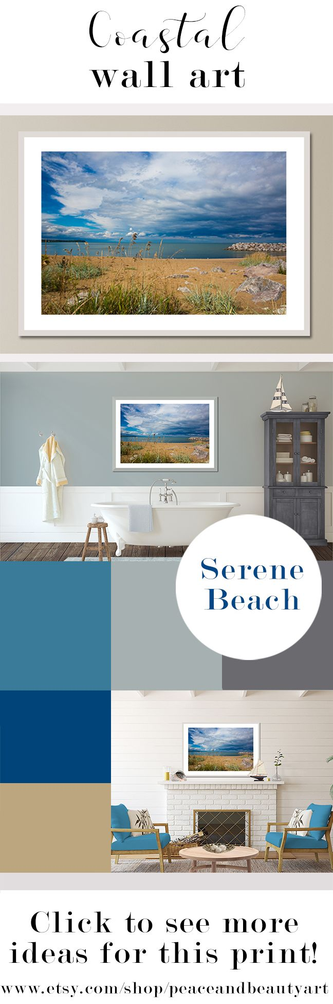 Large Seascape Art Large Coastal Art Lakehouse Wall Decor Etsy Coastal Style Art Lake House Decor Beige Art