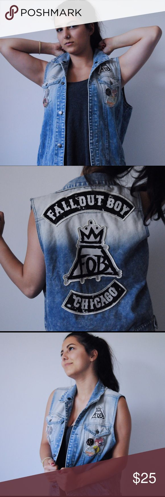 "Fall out Boy Limited Edition Denim Vest ✨Limited edition✨Official FOB merch. Denim vest with two breast pockets, two additional pockets, fob crown/volcano patch over one breast pocket, larger version of same patch on back with ""FALL OUT BOY"" patch above and ""CHICAGO"" patch below. White to blue ombre starting from top of the vest. Also includes unique buttons with crown symbol (like on the patches) **The pins in the photos are not included but if anyone is interested I can sell separately** ✨…"