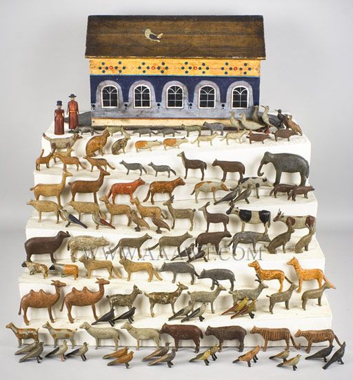 Antique Noah's Ark, 19th Century, Hand Painted, ark and animals . Aaawt.com