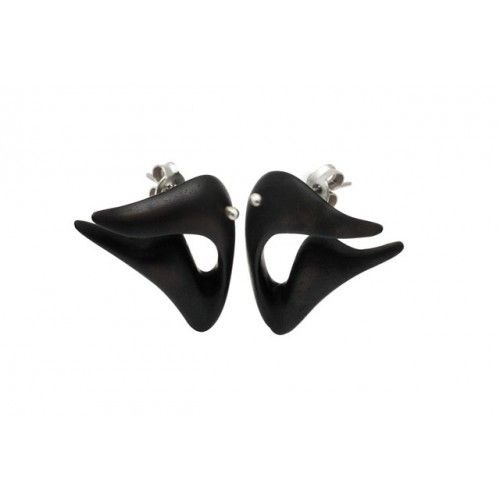 "Earrings from the ""Organic"" series made of ebony and silver 925."