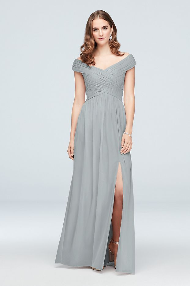9dbc052dd4 Crisscross Off-the-Shoulder Mesh Bridesmaid Dress Style F19951 ...
