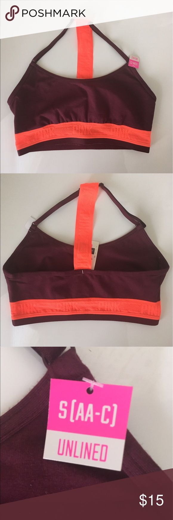 VS PINK sports bra VS PINK maroon and orange racerback sports bra! Super cute and great for working out! NWT PINK Victoria's Secret Intimates & Sleepwear Bras