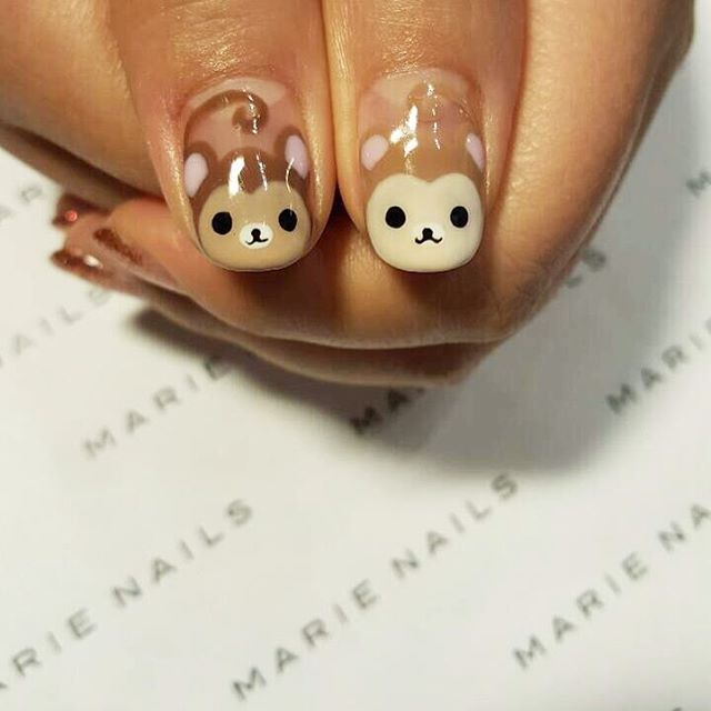 Super cute Monkey nail art from MARIE NAILS NY location! Give us a call to make an appointment: NoLita +1(646)9129655 SoHo +1(646)3704170 #marienails #monkeynails #animalnails #cartoonnails #gelmanicure #nails #nailart #nailstagram #naildesign #nailaddict #nailartist #instanails #calgel #biogel #calgelnails #japanesenailart #japanesenail #japanesenailsalon #マリーネイルズ #ネイル #ネイルデザイン #ネイルアート #ジェルネイル #ジェル #カワイイ #гель #маникюр #дизайныногтей