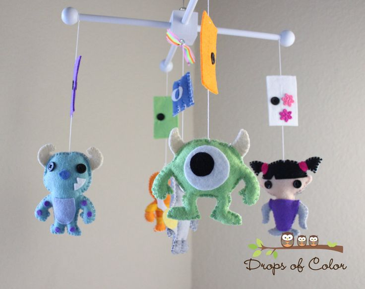 Baby Mobile - Baby Crib Mobile - Nursery Monsters Inc Mobile - Monsters and Doors - Boo, Sully, Mike. $85.00, via Etsy.