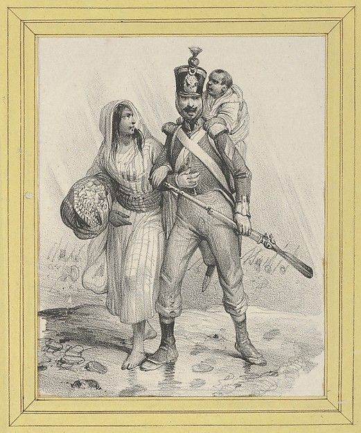 Soldier with a woman on his arm and a child on his back, Victor Adam (French, 1801–1866), Lithograph