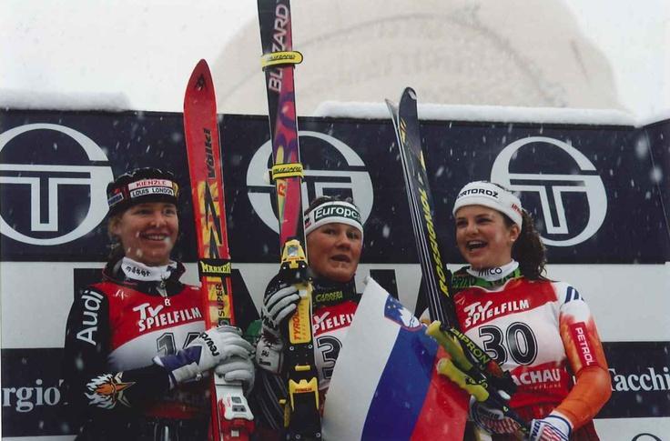 Skiweltcup Flachau 1995, Damen Super-G Flachau 1995, Siegerrin Renate Götschl  Ski World Cup 1995 in Flachau