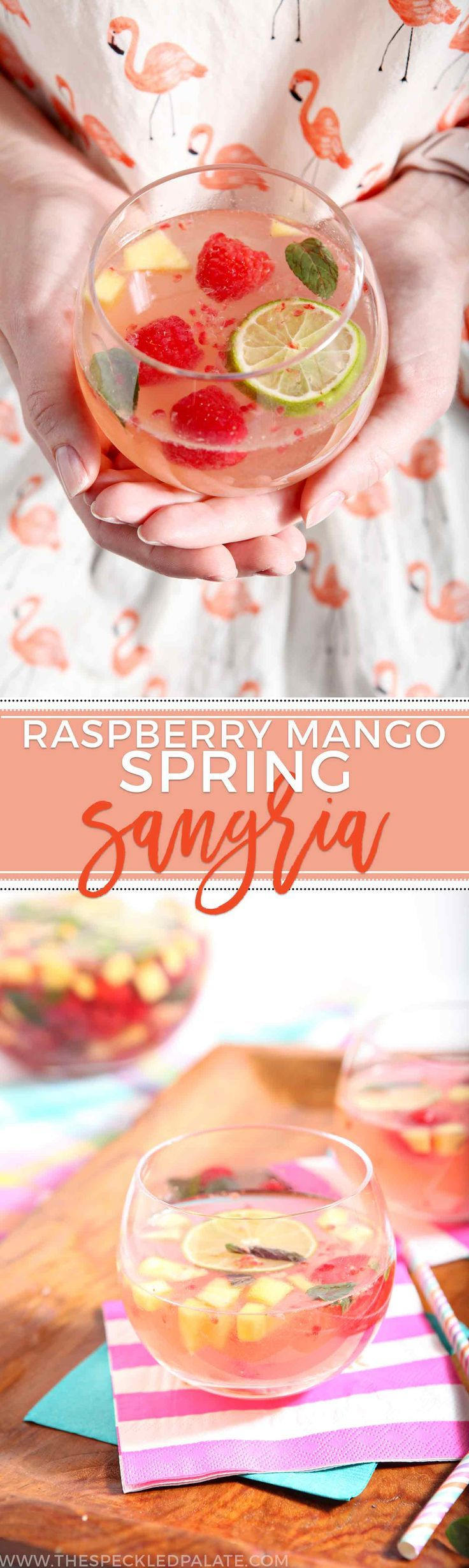 Raspberry Mango Spring Sangria sings of springtime flavors! Gather friends for this delightfully simple sangria that is oh-so-delicious, yet easy to make. #recipe #cocktail