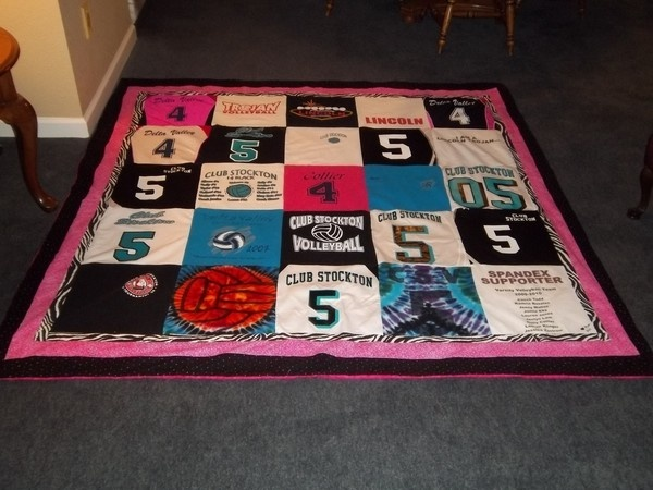 Blanket made out of my daughter's volleyball jerseys and t-shirts.