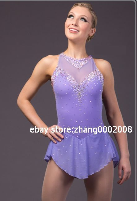 Ice skating dress.lilac Competition Figure Skating dress.Baton Twirling custom