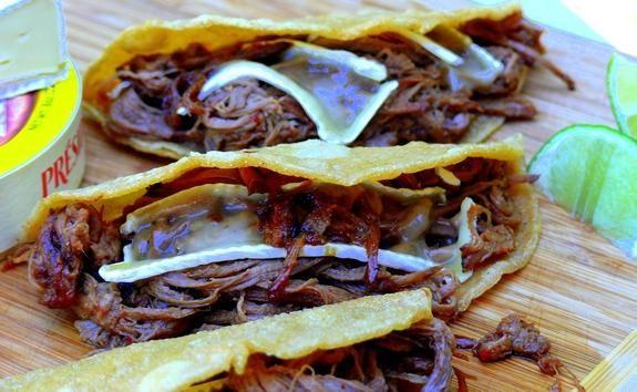 Dr. Pepper Brisket-Brie Tacos: Cooker Recipes, Tacos Recipes, Crock Pots, Dr. Peppers, Brisket Brie Tacos, Brisket Bri Tacos, Peppers Brisket Bri, Brisket Tacos, Slow Cooker