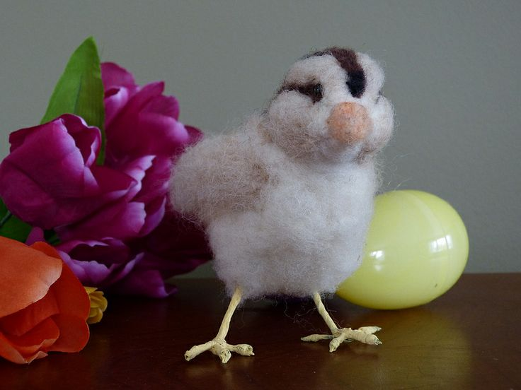 Old English Game Hen chick. Needle felted wool sculpture