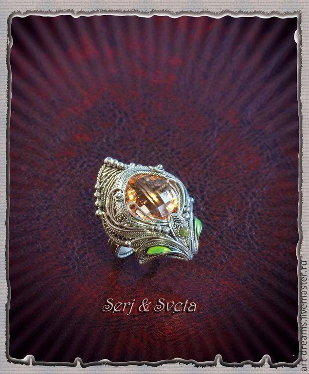 """Купить Кольцо  """"Богиня Рассвета"""" - кремовый, огранка, кольцо с морганитом, морганит, богиня, рассвет, утро"""
