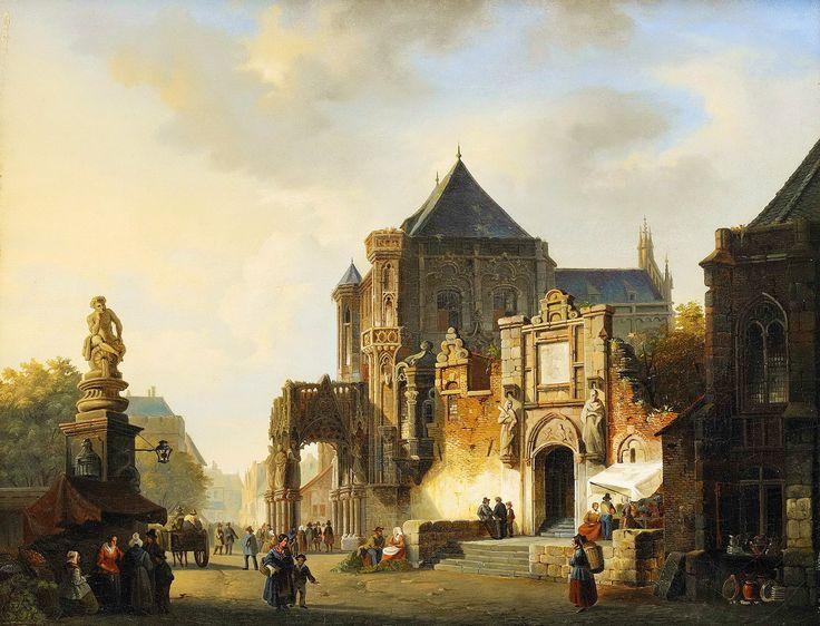 ADRIANUS EVERSEN (Holland, 1818-1897) Stadsmotiv med folkliv