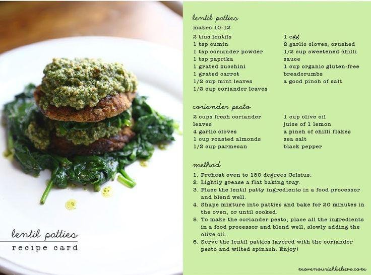 Meatless Monday: Lentil Patties w coriander pesto | Move Nourish Believe http://www.movenourishbelieve.com/recipes/16339/