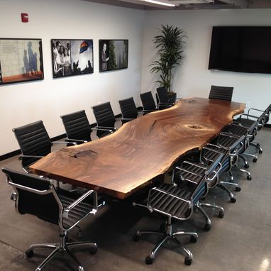 Custom Made Custom Live Edge Black Walnut Conference Table $10,500+