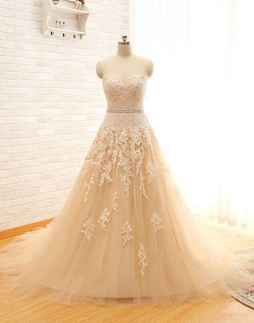WEDDING DRESSES Real Image Sweetheart Lace Tulle Wedding Dresses Champagne Wedding Gowns, Bridal Dress