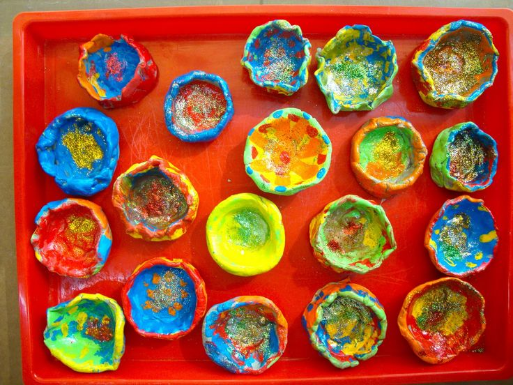 We could make Diyas the week before Diwali night and then light up the room with them for the evening itself