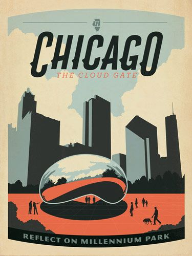 Another site with vintage inspired Chicago posters.  Cloud gate aka the bean at Millennium Park.