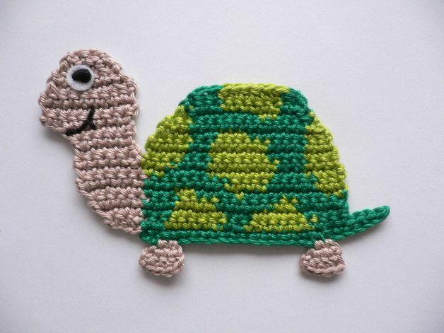 Häkelapplikationen - Schildkröte - Häkelapplikation