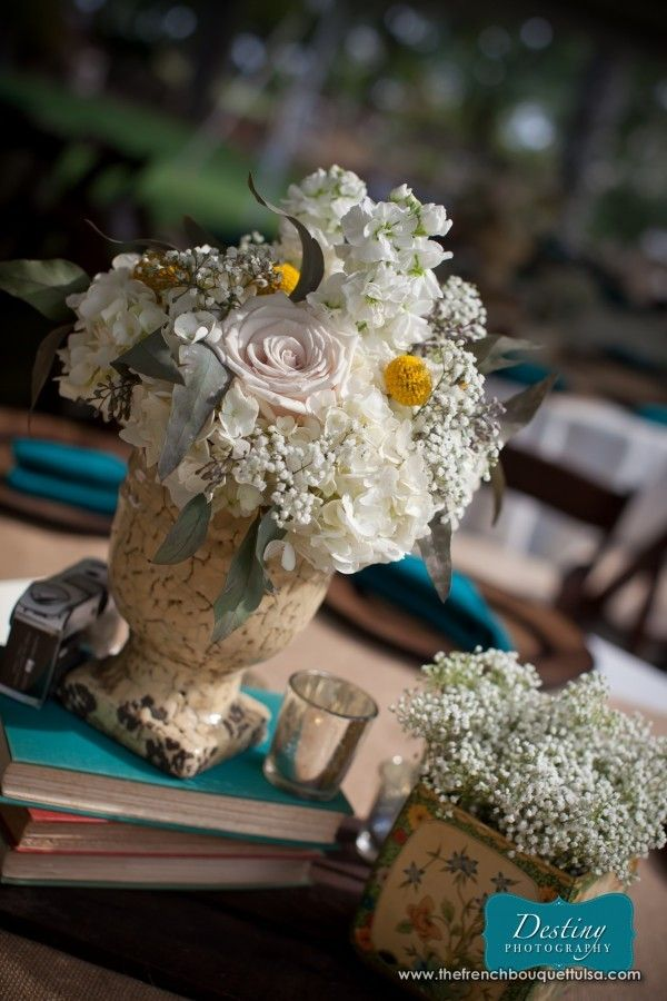 Hydrangea, Rose, and Baby's Breath Centerpiece