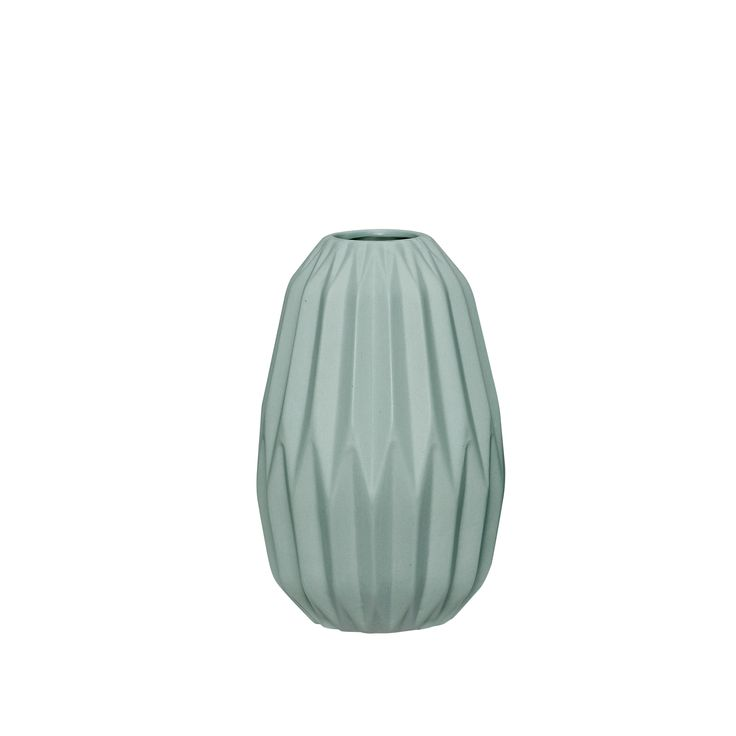 Green ceramic vase with grooves. Product number_ 720220 - Designed by Hübsch