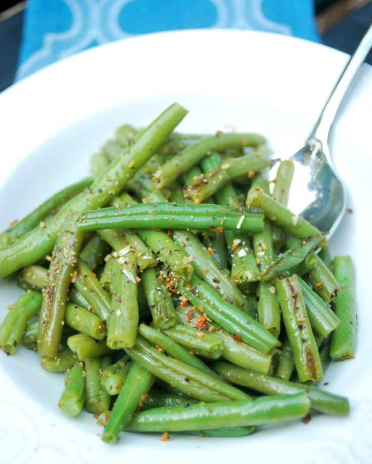 These seasoned green beans are a simple summer side dish. Check our your local farmers market for the freshest varieties.