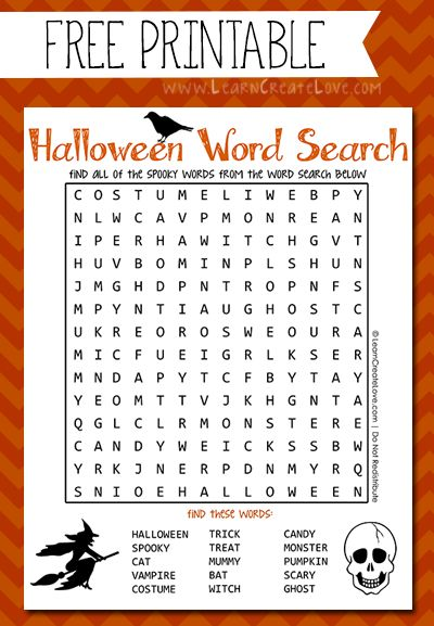 Printable Halloween Word Search | LearnCreateLove.com