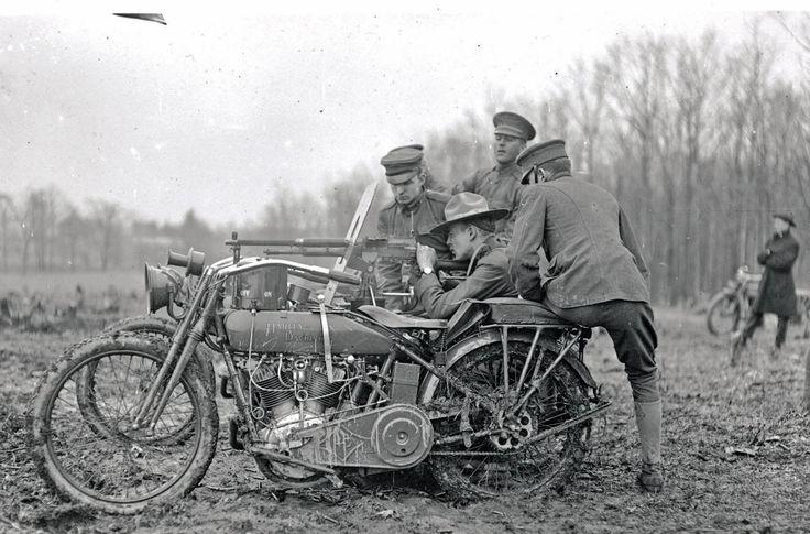 Harley Davidson with a mounted machine gun.