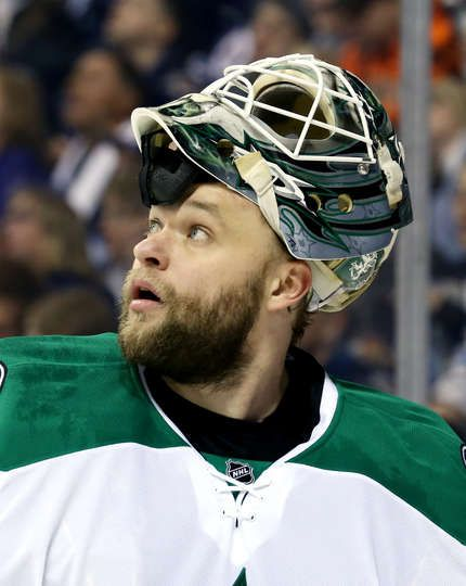 WINNIPEG, MB - FEBRUARY 14: Goaltender Antti Niemi #31 of the Dallas Stars looks up at the scoreboard during a first period stoppage in play against the Winnipeg Jets at the MTS Centre on February 14, 2017 in Winnipeg, Manitoba, Canada. (Photo by Darcy Finley/NHLI via Getty Images)