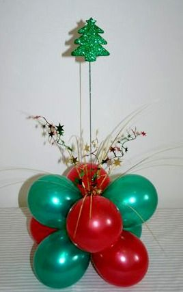 Pearl Red and Emerald Green Reverse Topiary with Christmas Tree Spray
