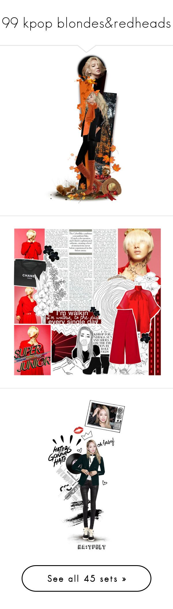 """99 kpop blondes&redheads"" by chomiczynka ❤ liked on Polyvore featuring 99kpopcollection, art, chomiczynkadolls, Chanel, Givenchy, TIBI, ALDO, Être Cécile, LSA International and Gucci"
