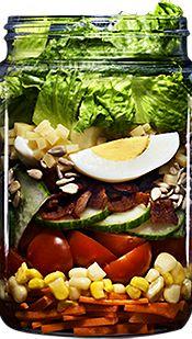 farmersfridge | SALADS-Romaine lettuce, turkey bacon, white cheddar, hard-boiled egg, sunflower seeds, local corn, carrot, organic cucumber, grape tomatoes & honey mustard dressing.