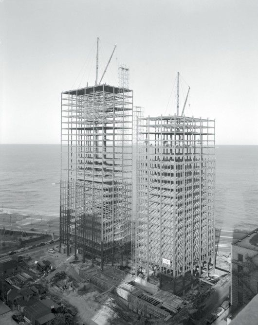 Mies van der Rohe, 860–880 Lake Shore Drive Apartment Buildings, Chicago, 1948–51; under construction, 1950–1.