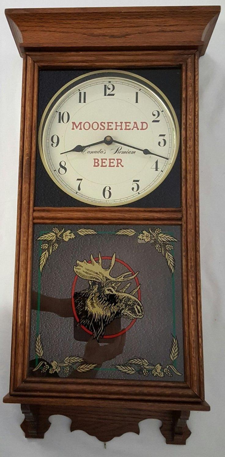 Vintage Moosehead Beer Canada's Premium Wood Glass Wisconsin Wall Clock Heirloom - http://collectibles.goshoppins.com/breweriana/vintage-moosehead-beer-canadas-premium-wood-glass-wisconsin-wall-clock-heirloom/